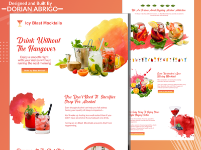 Alcoholic Drink Cocktail (Mocktail) Website Landing Page branding concept clean website web uiux type typography texture simple symbol photoshop modern graphic design ecommerce webdesign ux ui desing