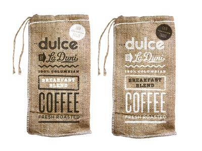 Dulce Coffeebags dulce coffeebag packaging screenprint burlap coffee restaurant type typography