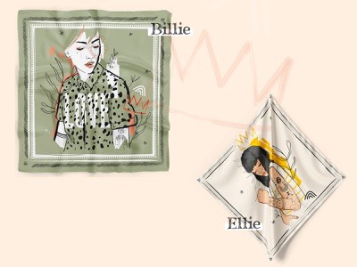 Billie & Ellie // Foulards shopping shop bandana scarf illustrator girl inked women vector illustration