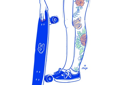 Girl & skate inked skate women vector illustration