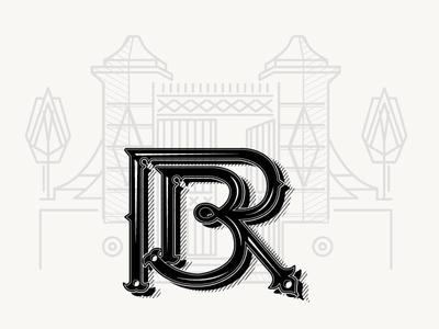 Monogram RB letter b r illustration monogram