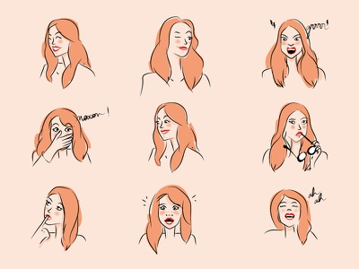 Expressions women vector illustration expression