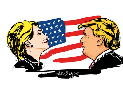 Shit happens 2016 election usa illustration vector trump hilary