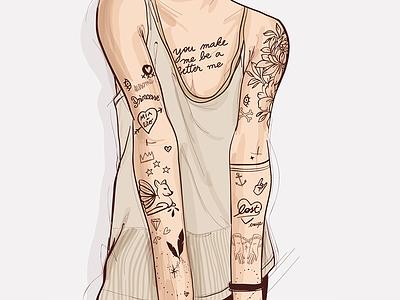 Inked Girl tattoo illustration ink vector girl inked