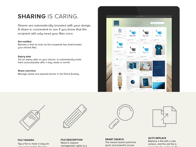 Promobucket Features Page web design promobucket