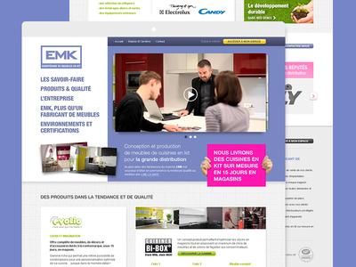Kitchen furniture website playful fun landing ui ux marketing header video pink blue layout website