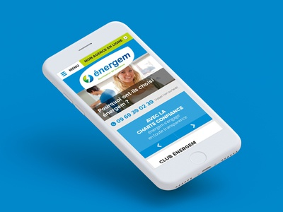 Energy supplier website layout clean website web ui ux blue iphone menu responsive mobile webdesign