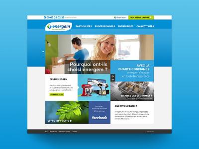 Energy supplier website website webdesign web ux ui responsive desktop cards grid layout clean blue