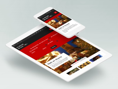 Tourism website tablet mobile iphone ipad ui ux responsive red layout site web website