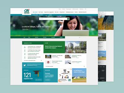 Bank website ui ux green homepage desktop responsive clean layout website site web
