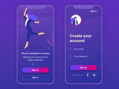 Daily UI #001 - Sign Up Freebie adobe xd madewithadobexd free freebie purple mobile app onboarding account iphone x mobile ui ux sign in sign up daily ui