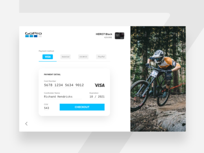 Daily UI #002 - Credit Card Checkout ux design ui blue madewithadobexd freebie free daily ui adobe xd gopro payment credit card checkout