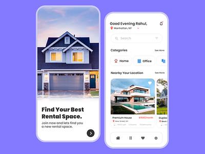 Property Rental Application UI design. instagram rental app minimal colour uiux uxui color uiuxdesign uidesign user interface house property design dribbble app ux ui figma home rental app home
