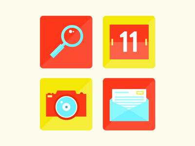 Flat Icons icons icon flat gui ui ux web search magnifying glass camera lens letter mail calendar
