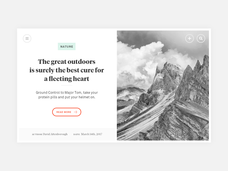 The great outdoors! type styletile editorial button minimal tag icon flat search nature magazine adobexd