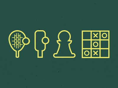 Icons icons play games pawn chess board racket icon tennis yellow illustration black