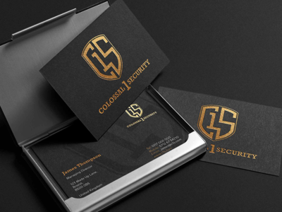 Colossal 1 Security bristol security business cards logo