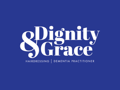 Dignity & Grace Logo blue dementia hairdressing ampersand grace dignity logo