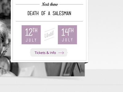Next Show Promo web design promo art deco theatre purple black and white drop shadow interface