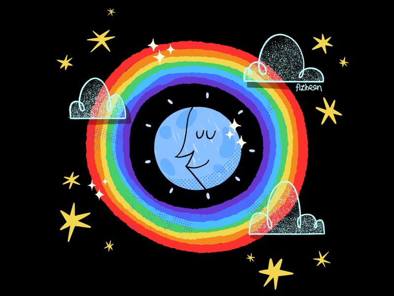 Midnight Rainbow bright shiney night sky stars illustration moonlight proud lgbt rainbow moon