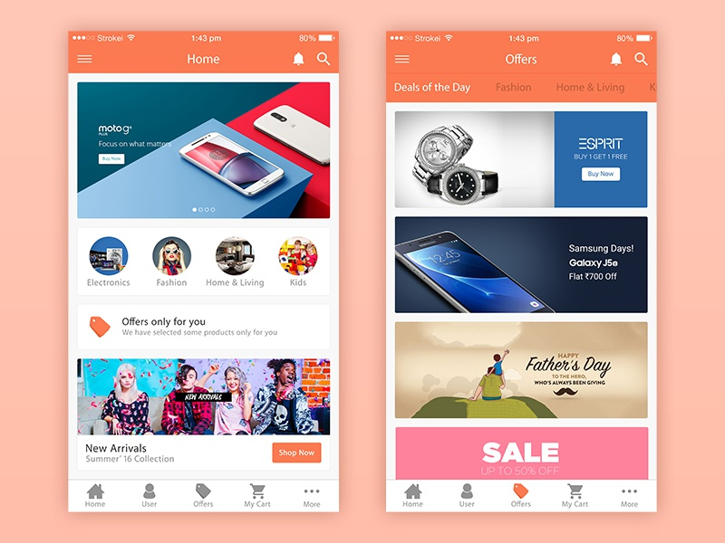 eCommerce iPhone 6 free psd home offers pitch tile ui ux followers followings iphone gui ios ecommerce