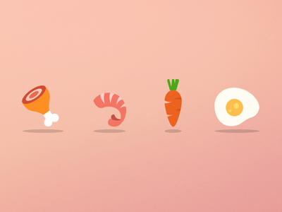 Food Icons food icon set flat iconset poultry prawn seafood vegetable carrot egg buuuk