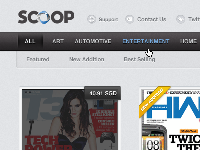 Scoop Portal website grey thumbnail navigation ui