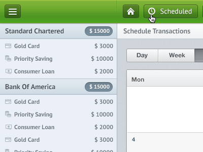 Account List ui web app green menubar sidebar grey