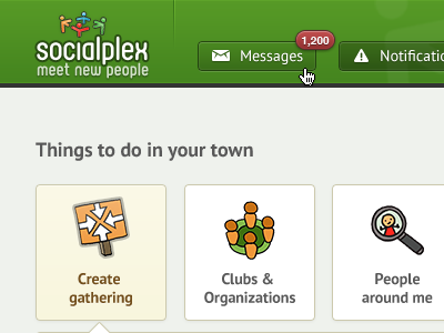 Create Gathering website web design green yellow button header navigation