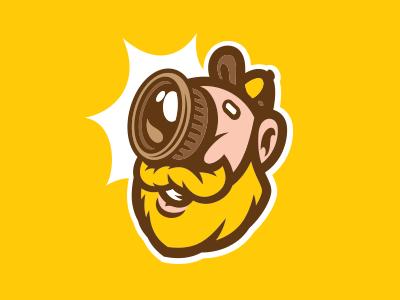 PhotoBeard cyclops photography lens blonde akuma mascot logo beard photo
