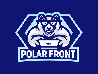 Polar Front akuma branding nerd winter frontend mascot logo polarbear bear polar