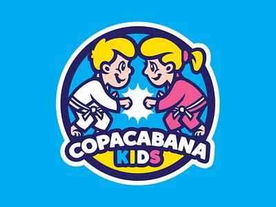 Copacabana Kids mascot grappler fighter sports logo logo kids fight brazilian jiu jitsu jiu jitsu bjj copacabana