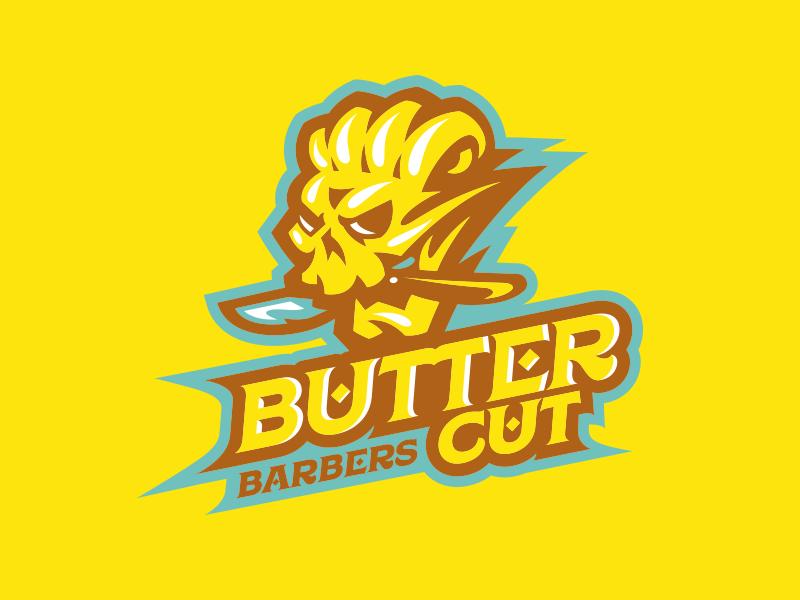 ButterCut Barbers sports branding mascot sport logo cut butter skull barbers barber