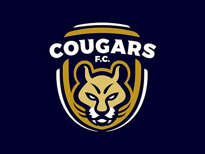 COUGARS F.C. animal mascot sport crest soccer football cougars logo cougar