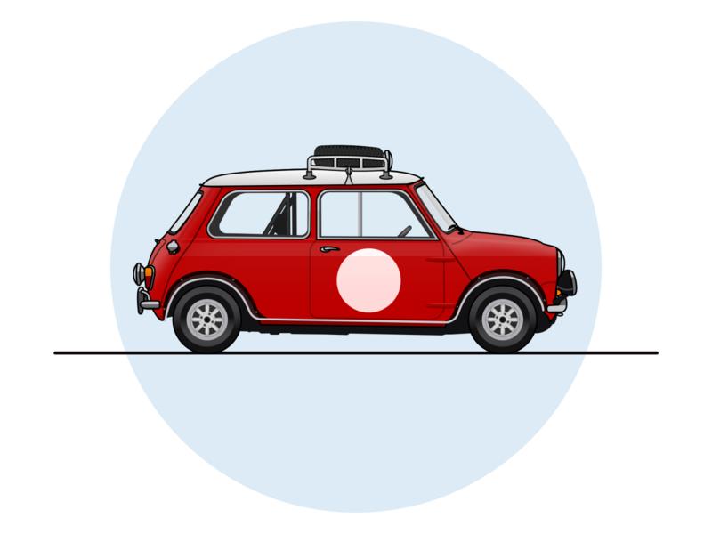 1966 Mini Cooper S Rally mini car vector illustration vector art vector sketchapp sketch illustration