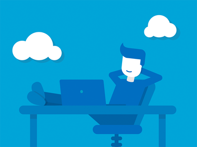 """Hard worker"" flat icon clouds workspace papers flat illustration icon office man lazy"