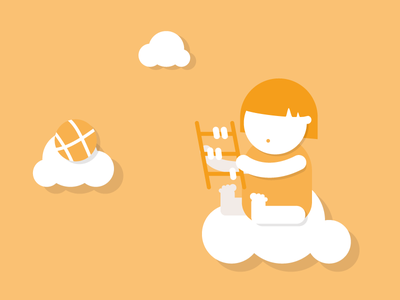 """Bookkeeping is easier with Bfree"" orange flat icon illustration vector clouds abacus ball baby"