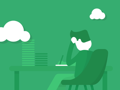 Hard worker flat icon clouds workspace papers flat illustration icon office man