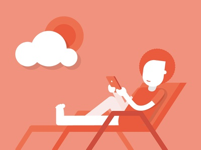 Chilling guy sea sun afro beach chilling work man illustration icon flat clouds