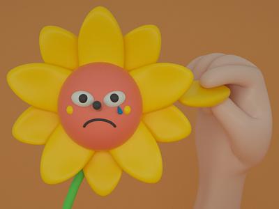 Loves me, Loves me not ... design cinema 4d character design cute 3d render character illustration flower
