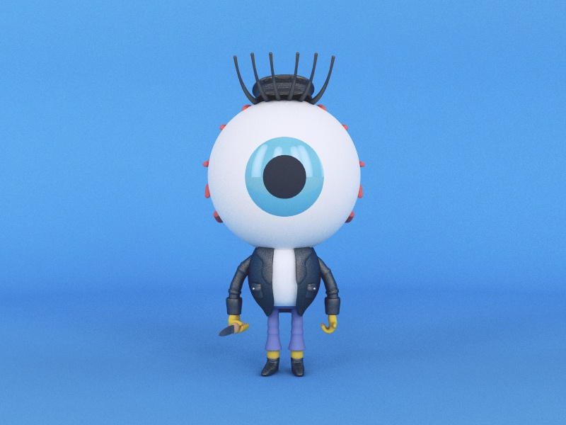 Eye Poker cinema 4d character design 3d render craig gleason ghoul eye poker