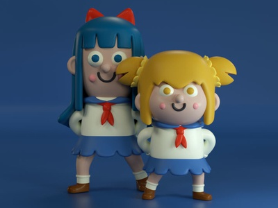 Epic Pop Team (Pipimi y Popuko) fanart epic pop team character design kawaii render cute character 3d illustration