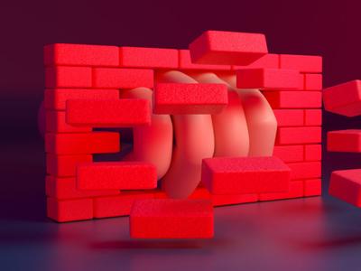 Break down the walls design render 3d illustration
