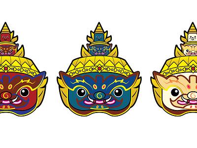 tossakan Keychain - souvenir design culture flat animation logo icon design small model sd souvenir illustrtion vecter character ramayana