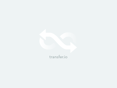 transfer.io logo transfer inque logo white clay gradient