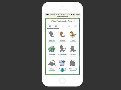Pokémon Go Calculator - Selector character selection iphone popover calculator pokemon