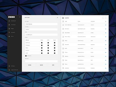 RNBK - Edit user update webapp cms erp management sidebar navigation users editor responsive buttons list input
