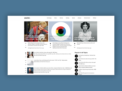 Popularr.com frontpage update vote responsive interface brand frontpage links news social
