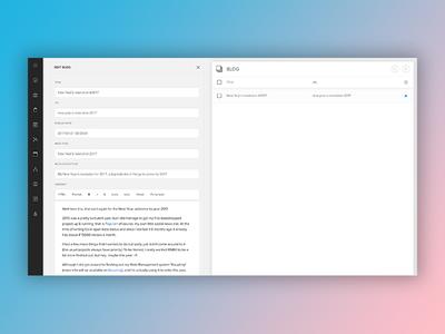 Web management - blog module input list buttons responsive editor users navigation sidebar management erp cms
