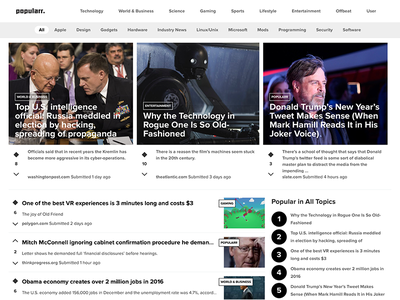 Popularr.com frontpage revision social news links frontpage brand interface responsive vote producthunt